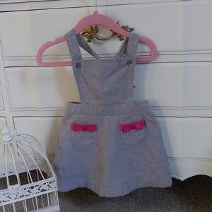 Janie & Jack overall dress gray pink bows toddler